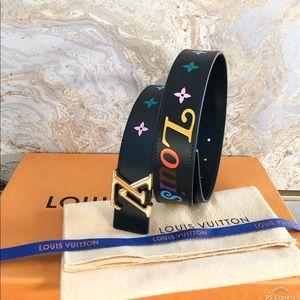 Louis Vuitton Black New Wave 35mm Leather Belt